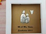 Mr & Mrs Established Personalized Pebble Art Frame