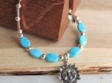 Turquoise Bracelet, Sun Face Bracelet, Sterling Silver Bracelet