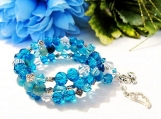 Wrap Around Bracelet, Gemstone Bracelet, Coiled Bracelet, Blue
