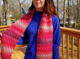Beautiful hand knit scarf super thick and warm in pretty pinks