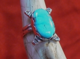 Candelaria Turquoise and Sterling Silver Ring Size 7 US