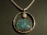 Crescent Valley Spiderweb Turquoise and Sterling Silver Pendant