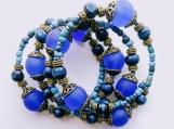 Darker blue wrap bracelet 4 rows