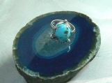 High Grade Persian Turquoise and Sterling Silver Ring