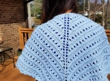 Lovely spring hand knit shawl soft pastel blue organic cotton