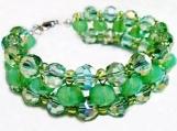 Mint Green Jewelry, Woven Crystal Bracelet, Big Crystal Bracelet