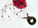 Multi Gemstone Necklace, Jade Necklaces for Women, White Beaded
