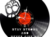 Never give up Loop-store handmade vintage vinyl clock