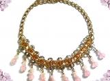 Rose Quartz Necklace, Gold Chain Bead Necklace, Gemstone Nugget