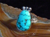 Sterling Silver and Godber/Burnham Turquoise Ring, Size 8.5 US