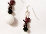 White Jade Earrings, Garnet Earrings, Crystal Earrings, Dangle E