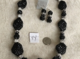 Black and Silver Bling Necklace & Earring set