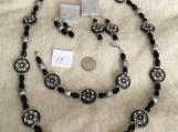 Black & Silver Necklace, Bracelet & 2 pierced earrrings Set