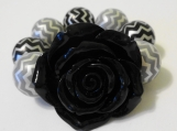 Child's Black Flower and Chunky Grey Bracelet