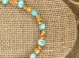Handcrafted Turquoise Pearl And Amber With Leather Necklace