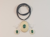Malachite stone Necklace and earrings set