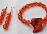 Orange Stone and Glass Bracelet Set