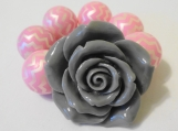 Toddler's Chunky Pink and Grey Flower Bracelet