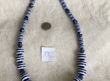 White & Navy blue striped Necklace