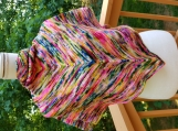 Elegant shawl vibrant colors of pinks, blues, yellow merino wool