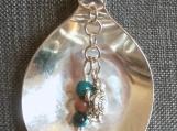 Silver Spoon Pendant/Brown Goldstone & Chrysocolla