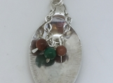 Sterling Silver Spoon Pendant/Brown Goldstone & Chrysocolla