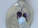 Sterling Silver Spoon Pendant/Moonstone & Banded Agate