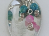 Sterling Silver Spoon Pendant/Ocean White Jade & Banded Agate