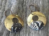 Two-Toned Stamped Earrings - Brass Wide Circle