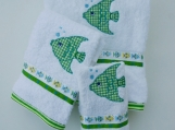 THREE PIECE SET - Mr. Fish Bath Towels POOLSIDE/BEACH/BATH
