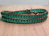 Emerald Wrap Bracelet, Green Glass Beads, Turquoise, Aqua, Bead Weaving, Stacking Bracelet, Double Wrap, Vegan, Unisex Gift, Birthday Gift