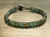 Lichen Bracelet, Green Beaded Bracelet, Fire Polished, Stacking Bracelet, Handmade, Vegan, Bead Weaving, Micro Macrame, Unisex Jewelry