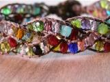 Stained Glass Braided Bracelet, Hand Beaded Bracelet, Ornate, Colorful, Beaded Cuff, Vegan, Stacking Bracelet, Birthday Gift, Teacher Gift