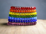 The Pride Cuff, Hand Beaded Bracelet, Beaded Cuff, Rainbow, LGBTQ, Equality, Vegan Jewelry, Birthday Gift, Friend Gift, Wife Gift, Handmade