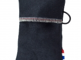Black simple, soft pouch for keys/credit cards, no metal/plastic