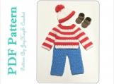 Crochet  Pattern Waldo Outfit Costume Diaper Set Pattern