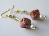 Dark Red Brocade Origami Cube Earrings