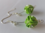 Gradation Colors Origami Green and White Earrings