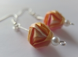 Gradation Origami, Mix of Orange, Pink, and White Ball Earrings