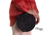 Hand woven Round Black Color Rattan Beach Bags with Button Clip - Medium Size of Shoulder Bags