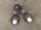Handcrafted baroque pearls On Brown Leather Cord