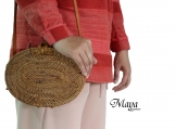 Handwoven Oval Rattan Beach Bags with Bow closure - Ata Shoulder Bali Bags