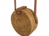 Handwoven Small Bali Round Rattan Beach Bag with Button Clip