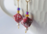 Red with White Flowers Cube Earrings