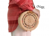 Round Rattan Handbag with Butterfly closure, Leather Shoulder Bags, Bali Rattan Bags, Handwoven Rattan Leather Bags