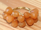 Orange Aventurine wire Ring