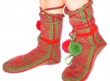Green and Red Pom-pom Slippers