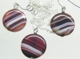 Sardonyx Necklace /Earring Set on a sterling silver chain