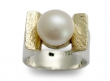 Amazon grace - Sterling silver ring combined yellow gold inlaid fresh water pearl.