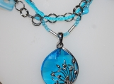 Silver Sea Oats Pendant Necklace with Turquoise Crystal Bead